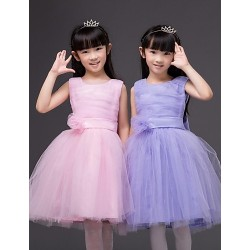 A-line Knee-length Flower Girl Dress - Cotton/Organza/Taffeta Sleeveless