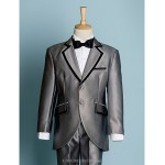 Black/Ivory Polyester Ring Bearer Suit - 5 Pieces Flower Girl Dresses