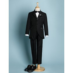 Black Ivory Polyester Ring Bearer Suit 5 Pieces