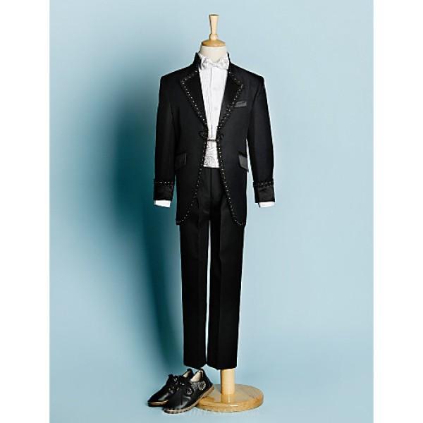 Black/Ivory Polyester Ring Bearer Suit - 5 Pieces Flower Girl Dresses