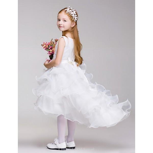 A-line Flower Girl Dress - Lace/Tulle/Polyester Sleeveless Flower Girl Dresses