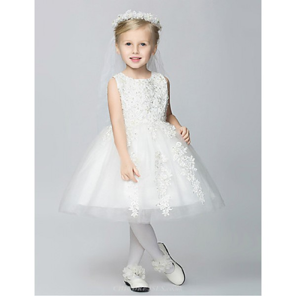A-line Knee-length Flower Girl Dress - Lace/Tulle/Polyester Sleeveless Flower Girl Dresses