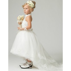 A Line Floor Length Asymmetrical Flower Girl Dress Lace Tulle Polyester Sleeveless