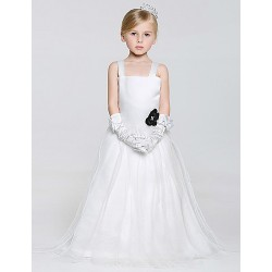 A Line Floor Length Flower Girl Dress Tulle Polyester Sleeveless