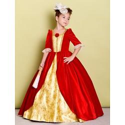 A-line Floor-length Flower Girl Dress - Velvet Half Sleeve