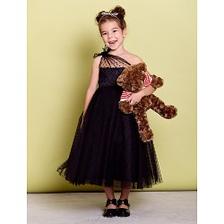 Dress Black A Line One Shoulder Tea Length Tulle