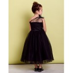 Dress - Black A-line One Shoulder Tea-length Tulle Flower Girl Dresses