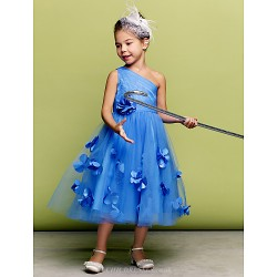 Dress Ocean Blue A Line Ball Gown One Shoulder Tea Length Tulle