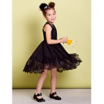 Dress - Black A-line Jewel Knee-length Chiffon / Lace Flower Girl Dresses