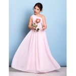 Floor-length Chiffon Junior Bridesmaid Dress - Blushing Pink A-line One Shoulder Junior Bridesmaid Dresses