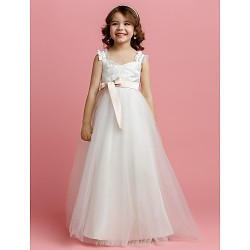 A-line Floor-length Flower Girl Dress - Tulle Sleeveless