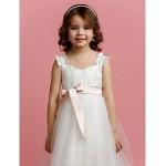 A-line Floor-length Flower Girl Dress - Tulle Sleeveless Flower Girl Dresses