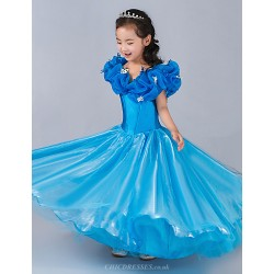 Cinderella Princess Dress A-line Floor-length Flower Girl Dress - Satin/Tulle Sleeveless