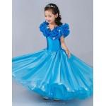 Cinderella Princess Dress A-line Floor-length Flower Girl Dress - Satin/Tulle Sleeveless Flower Girl Dresses