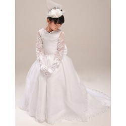 A-line Court Train Flower Girl Dress - Organza/Satin Short Sleeve