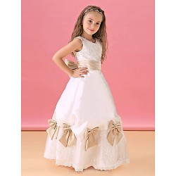 A Line Floor Length Flower Girl Dress Lace Satin Sleeveless