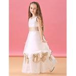 A-line Floor-length Flower Girl Dress - Lace/Satin Sleeveless Flower Girl Dresses
