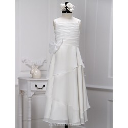 Sheath Column Ankle Length Flower Girl Dress Chiffon Sleeveless