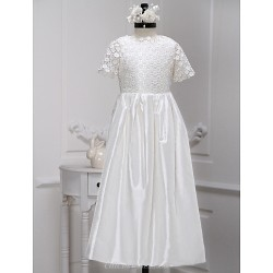A-line Ankle-length Flower Girl Dress - Lace / Charmeuse Short Sleeve