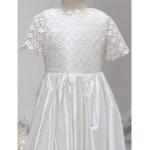A-line Ankle-length Flower Girl Dress - Lace / Charmeuse Short Sleeve Flower Girl Dresses
