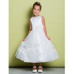A-line Ankle-length Flower Girl Dress - Lace / Satin Sleeveless Flower Girl Dresses