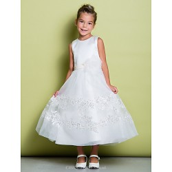 A Line Ankle Length Flower Girl Dress Lace Satin Sleeveless