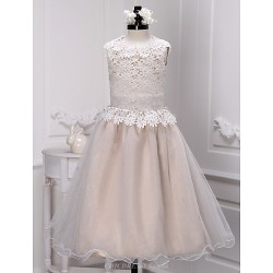 A Line Ankle Length Flower Girl Dress Lace Organza Sleeveless