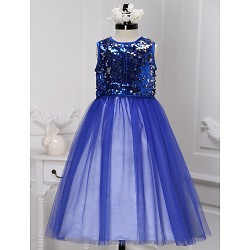 A Line Tea Length Flower Girl Dress Sequined Sleeveless