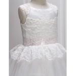 A-line Ankle-length Flower Girl Dress - Lace / Tulle Sleeveless Flower Girl Dresses