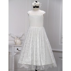 A Line Tea Length Flower Girl Dress Lace Sleeveless