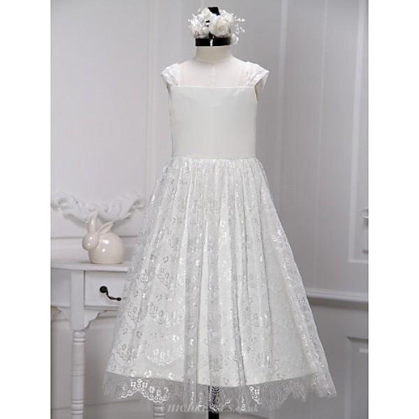 A-line Tea-length Flower Girl Dress - Lace Sleeveless Flower Girl Dresses