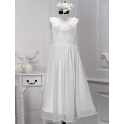 A Line Tea Length Flower Girl Dress Chiffon Sleeveless