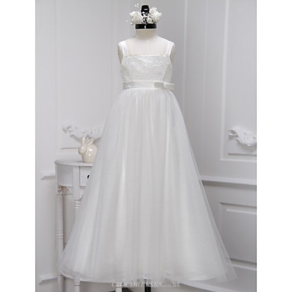 A-line Ankle-length Flower Girl Dress - Lace / Tulle Sleeveless Flower Girl Dresses