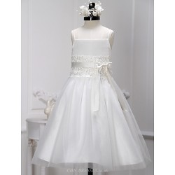 A-line Tea-length Flower Girl Dress - Lace / Tulle Sleeveless
