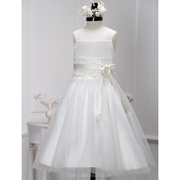 A-line Tea-length Flower Girl Dress - Lace / Tulle Sleeveless Flower Girl Dresses