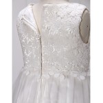 A-line Knee-length Flower Girl Dress - Lace / Tulle Sleeveless Flower Girl Dresses