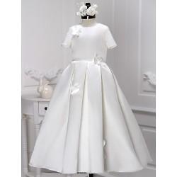 A-line Ankle-length Flower Girl Dress - Satin Short Sleeve