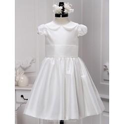 A Line Knee Length Flower Girl Dress Satin Short Sleeve
