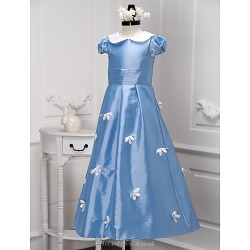 A-line Floor-length Flower Girl Dress - Taffeta Short Sleeve