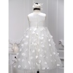 A-line Tea-length Flower Girl Dress - Satin / Tulle Sleeveless Flower Girl Dresses