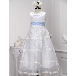 A Line Tea Length Flower Girl Dress Organza Satin Sleeveless