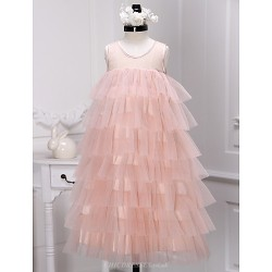 A Line Tea Length Flower Girl Dress Tulle Sleeveless