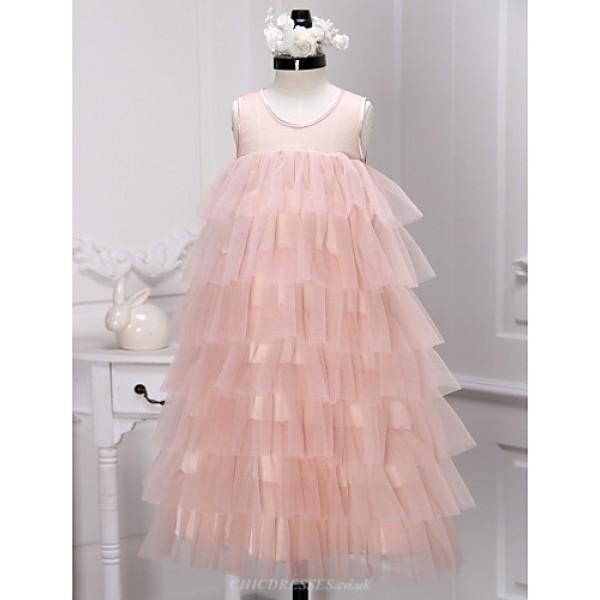 A-line Tea-length Flower Girl Dress - Tulle Sleeveless Flower Girl Dresses