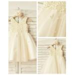 A-line Knee-length Flower Girl Dress - Satin / Tulle Sleeveless Flower Girl Dresses