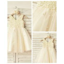 A-line Knee-length Flower Girl Dress - Satin / Tulle Sleeveless