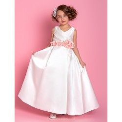 A Line Floor Length Flower Girl Dress Satin Sleeveless