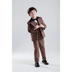 Brown Polyester Ring Bearer Suit - 5 Pieces