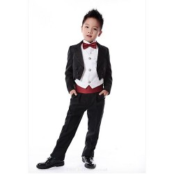Black Dark Navy Red Fuchsia Pink Polyester Ring Bearer Suit 6 Pieces