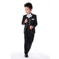 Black Polyester Ring Bearer Suit - 5 Pieces