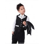 Black Polyester Ring Bearer Suit - 5 Pieces Flower Girl Dresses